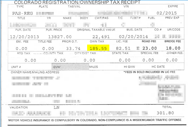 Registration Tax Paid - Minnesota